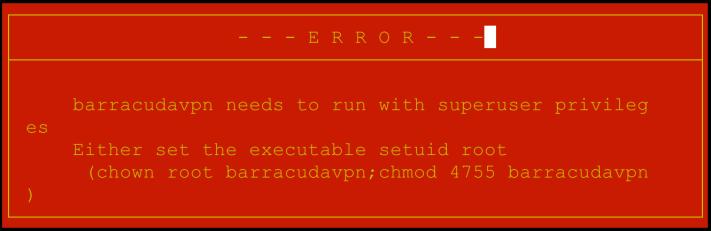 barracudavpn-noroot-error